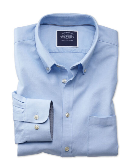 Extra slim fit button-down washed Oxford plain sky blue shirt