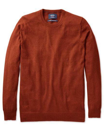 Orange cotton cashmere crew neck sweater
