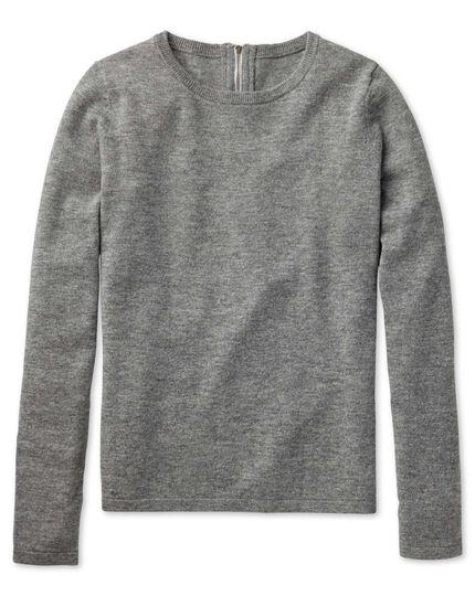 Light grey merino cashmere zip back jumper