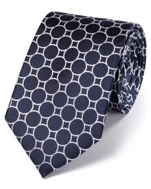 Navy and white silk circle link classic tie
