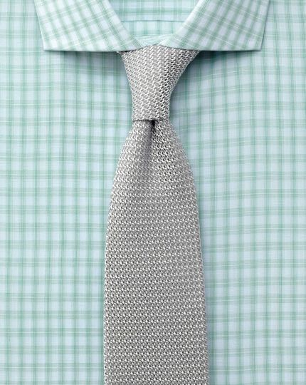 Extra slim fit spread collar Egyptian cotton compact check green shirt