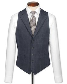Navy check saxony business suit waistcoat