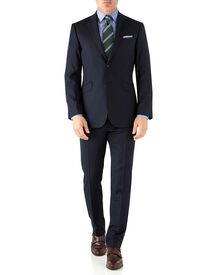 Navy herringbone classic fit Italian suit