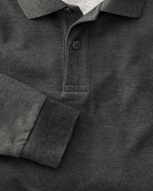 Classic fit charcoal long sleeve pique polo