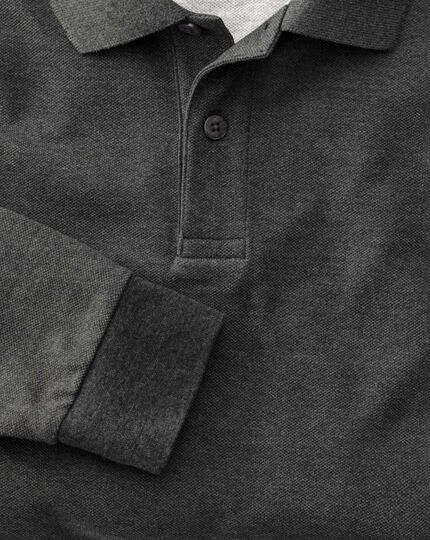 Charcoal long sleeve pique polo
