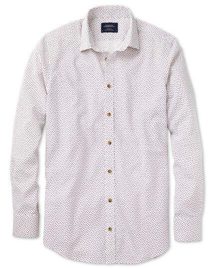 Classic Fit Hemd in weiß und rosa mit Quadrat-Print