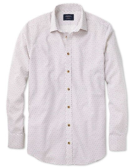 Slim fit white and pink square print shirt