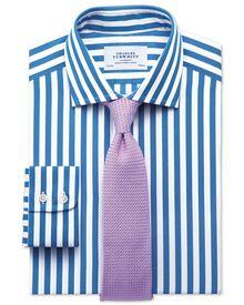 Classic fit semi-spread collar Egyptian cotton stripe royal blue shirt
