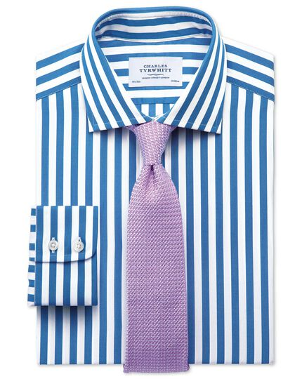 Classic fit semi-cutaway collar Egyptian cotton stripe royal blue shirt