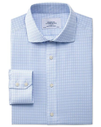 Slim fit spread collar non-iron dobby check sky blue shirt
