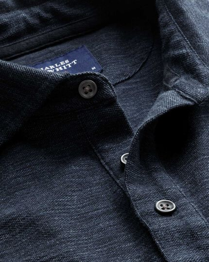 Denim blue long sleeve polo