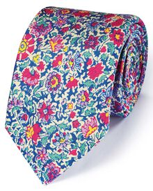 Pink multi cotton mix Italian luxury floral tie