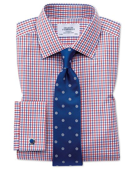 Extra slim fit two color check red and blue shirt