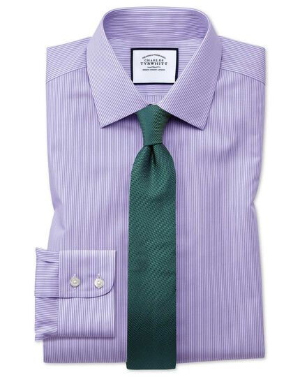 Classic fit non-iron short sleeve bengal stripe lilac shirt
