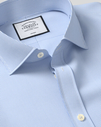 Extra slim fit spread collar non-iron puppytooth sky blue shirt
