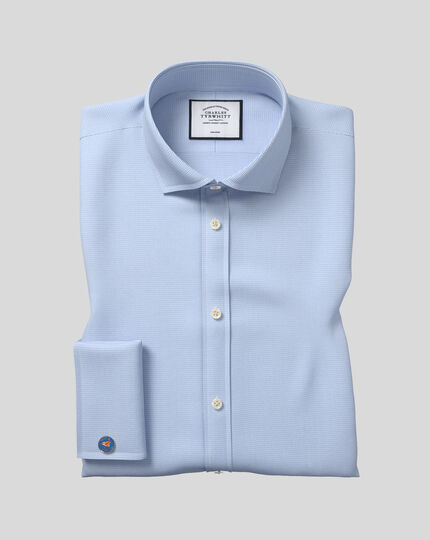 Extra slim fit cutaway non-iron puppytooth sky blue shirt
