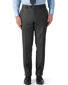Grey slim fit basketweave business suit trousers