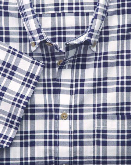Slim fit poplin short sleeve navy check shirt