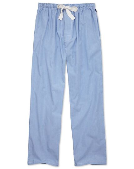 Blue stripe cotton pajamas pants