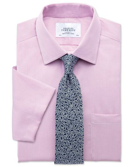Classic fit non-iron short sleeve pinpoint stripe pink shirt