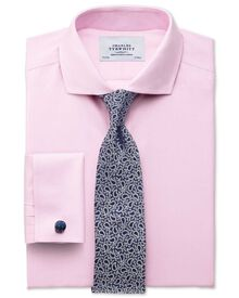 Classic fit cutaway collar non-iron twill pink shirt