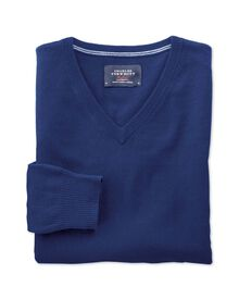 Ink blue cotton cashmere v-neck jumper