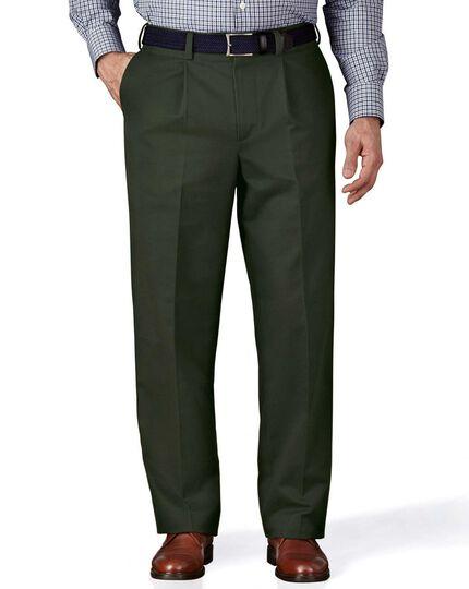 Dark green classic fit single pleat non-iron chinos