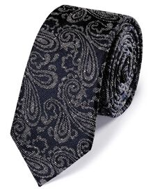 Navy and grey silk slim donegal paisley classic tie
