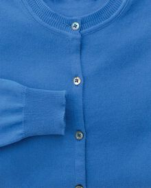 Women's blue cotton cashmere cardigan