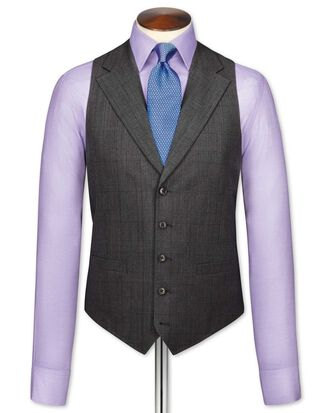 Grey check flannel business suit waistcoat