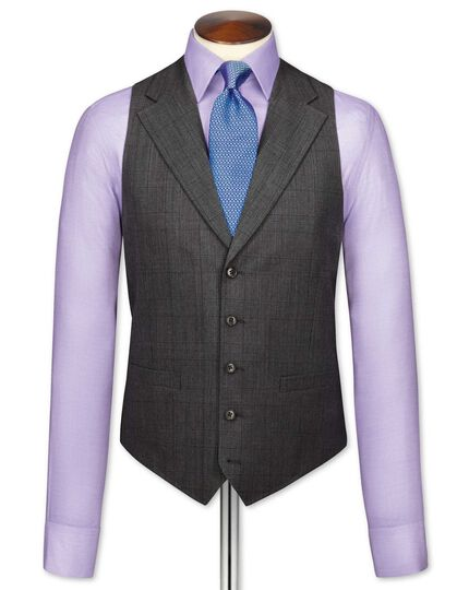 Grey check flannel business suit vest