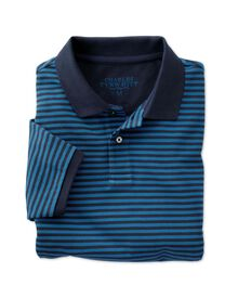 Classic fit navy and blue striped pique polo shirt