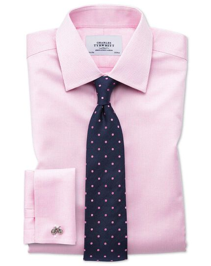 Classic fit non iron puppytooth light pink shirt