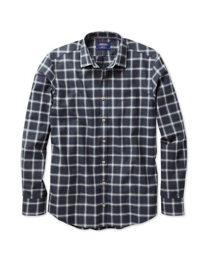 Classic fit navy and grey overcheck heather shirt