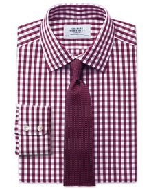 Classic fit non-iron Oxford gingham berry shirt