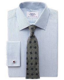 Slim fit Pima cotton double-faced navy shirt