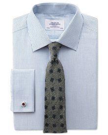 Slim Fit Hemd aus beidseitiger Pima-Baumwolle in Marineblau