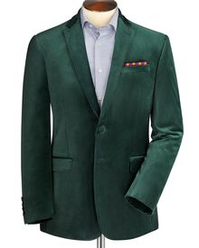 Green slim fit velvet jacket