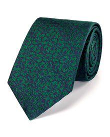 Green silk luxury floral tie