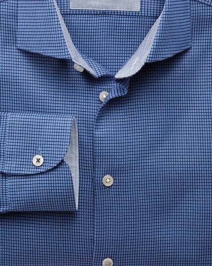 Slim fit semi-cutaway collar business casual textured royal blue shirt