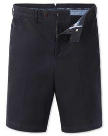 Navy flat front chino shorts