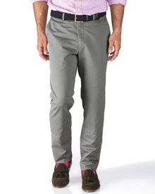 Silver grey slim fit flat front chinos