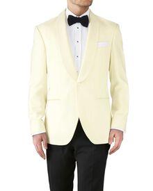 Cream slim fit shawl collar tuxedo jacket