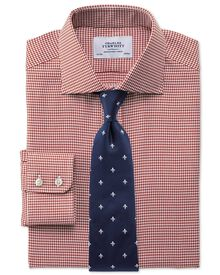 Extra slim fit semi-spread collar melange puppytooth copper shirt