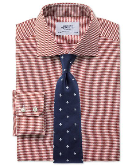 Extra slim fit semi-cutaway collar melange puppytooth copper shirt