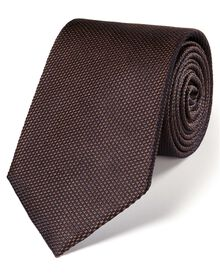 Brown silk classic plain tie