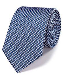 Royal blue silk classic grid check tie