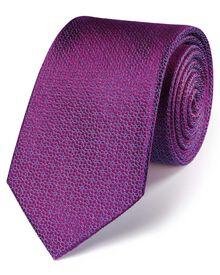 Magenta silk classic geometric floral tie