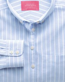 Women's semi-fitted sky wide stripe Oxford shirt
