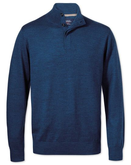 Mid blue merino wool button neck sweater